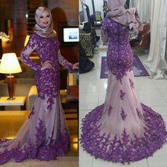 Muslim Long Sleeve Evening Dresses Dubai Kaftan 2017 For Women Wear Vestido  De Festa Dubai Formal Arabic Lace Turkish with Hijab hafiza     AliExpress  ... 47711c691e1b