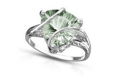 4 Carat Trillion-Cut Green Amethyst and Diamond 14K White Gold Ring #Glimpse_by_TheFind