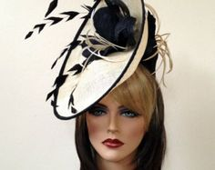 Fascinator hat. Del Mar hat. Royal Ascot hat. Black and beige fascinator for the races, wedding, church and etc.