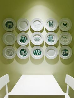 decorative plate wall with linear arrangement