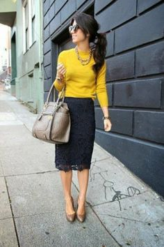 This is a good example of a winter business casual outfit that incoorporates color and a lace pencil skirt. This is a good example of a winter business casual outfit that incoorporates color and a lace pencil skirt. Business Mode, Business Outfit, Business Fashion, Business Style, Business Formal, Business Wear, Business Clothes, Business Casual Attire, Business Meeting