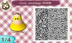 Este es un QR Code para Animal Crossing, creado por mí; como podéis observar, es un conjunto veraniego de color amarillo. [1-4]  Lo podéis encontrar en mi canal de YouTube: https://www.youtube.com/channel/UCh6uwa2CjSgR4WQ-ghRQY6Q (Roxy).  ¡Espero qué os guste! ;)