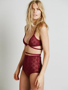 Skivvies by For Love & Lemons Bondage Bralette & High Waisted Daisy Lace Undies