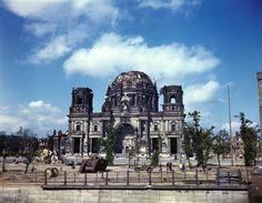 1945, Allemagne, Berlin en été, Les ruines de la Berliner Dom en été. Au premier plan, la carcasse d'un char