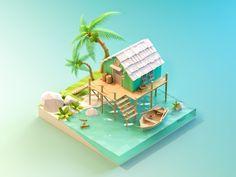 Seaside cottage designed by JzhDesigner. Connect with them on Dribbble; Crea Design, Design 3d, Game Design, Isometric Art, Isometric Design, 3d Modellierung, Low Poly Games, 3d Fantasy, Modelos 3d