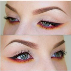 Gorgeous colorful electric under-eye winged liner. Sexy & subtle makeup look. #GetElectricwithUD