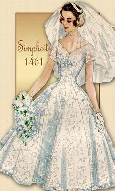 1950s Wedding Dress Pattern Simplicity 1461 Vintage Bridal & Bridesmaids Dress Veil and Headpiece...