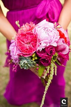 bright pink and green textured bouquet with hanging amaranthus (don't like the hanging)