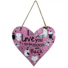 Peel Hanging Heart Sign 'Moon and Back' £6.99 at Macmillans of Penwortham