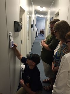 Explaining how to use the new programmable thermostats to the Meals on Wheels staff! Great people, doing great things for our elderly, not just delivering meals.