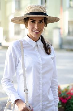 kristjaana mere straw hat white button down shirt outfit