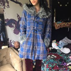 NWOT plaid and faux fur coat Brand new without tags. very warm and flattering. Final price reduction!! Bundle to save Ezekiel Jackets & Coats