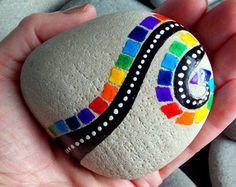 Finding rainbows along life's highways / hand painted rocks / painted stones/ Sandi Pike Foundas / Cape Cod