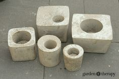 How to make these concrete garden planters from plastic containers