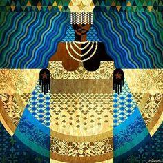Dom da Lua Cheia  Rainha do Mar -2016  ... Sentimento oceânico ...Jornada Noturna do Mar ... Do mais distante azul ...… Orisha, Mother Goddess, Holy Mary, Sacred Art, African Art, Figurative Art, Pattern Art, Traditional Art, Love Art