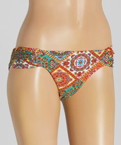 Look at this #zulilyfind! Orange & Turquoise Ruched-Side Bonita Bikini Bottoms by Luli Fama #zulilyfinds