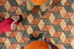 Colourful terracotta floor made by Todobarro
