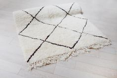 Vintage Moroccan Rug Cream Shag Wool Rug by ForesterCollective