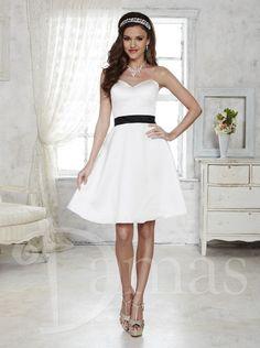 2016 Knee Length White Chiffon Damas Bridesmaid Dress 52355