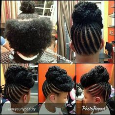 Corn Row Updo - http://www.blackhairinformation.com/community/hairstyle-gallery/natural-hairstyles/corn-row-updo/ #naturalhairstyles