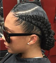 Goddess Braids Updo With Side Part                                                                                                                                                                                 More