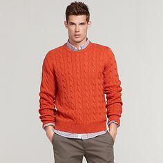Tommy Hilfiger men's sweater. Our cable knit pullover crewneck sweater goes above and beyond the call of duty in a comfy cotton blend.• Classic fit.• 60% cotton, 20% wool, 20% acrylic.• Front and back cable design, soft knit blend.• Machine washable.• Imported.