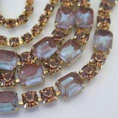Vintage 1950's Saphiret Rhinestone Glass Necklace
