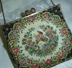 RESERVED 30s French Petit Point Tapestry Purse Evening Bag Signed Albro France Vintage Needlepoint Floral Pocketbook 40s Embroidered Flowers
