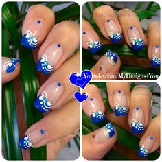 Blue French Tip Nail Art | Floral Nails https://www.youtube.com/watch?v=RQSxuvqp1PA
