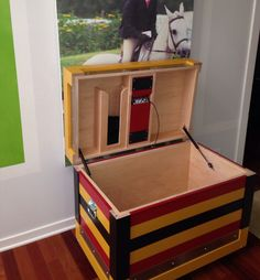 Tack trunk with sound system. I love the Newmarket stripe!