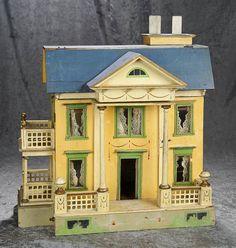 "21""h. German wooden dollhouse by Gottschalk with side porches and interior elevator. $1200/1500 Antique Dollhouse, Wooden Dollhouse, Antique Dolls, Dollhouse Miniatures, Miniature Houses, Miniature Dolls, Doll Furniture, Dollhouse Furniture, Fairy Houses"