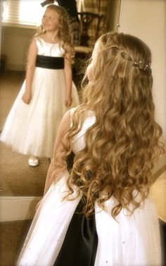 bridesmaid flower girl hairstyle curls waterfall braid