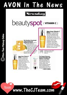 #Avon 🍊 Vitamin C Serum  is in the News! Brighten Up Your Skin Care Routine! Vitamin C Brightening Serum is a patented formula that contains a high concentration of 10% pure Vitamin C, which protects skin from sun, pollution and other aggressors. Reg $30. Shop online with FREE shipping with any $40 online Avon purchase. #VitaminC  #BrightenUp #CJTeam #Sale #Anew #C3 #Newsday #InTheNews #SkinCare  Shop Avon Skin Care online @ www.TheCJTeam.com