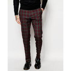 ASOS Skinny Suit Trousers In Tartan Check (42355 IQD) ❤ liked on Polyvore featuring men's fashion, men's clothing, men's pants, men's dress pants, multi, mens plaid dress pants, tall mens pants, mens plaid pants, mens stretch pants and mens skinny pants