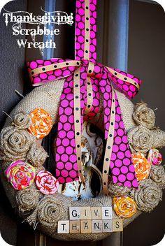 Give Thanks -- Make a Burlap Scrabble Wreath! -- Tatertots and Jello! Such a perfect wreath for #Thanksgiving @tatertotsjello