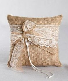 Elite Collection White or Ivory Country Romance Burlap & Lace Bow Ring Pillow