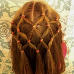 Netted hairstyle for little girls.  Jada lets me do her hair like this with no fussing.