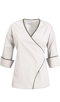 Women's Wrap Chef Coat - Contrast Piping – 65/35 Poly/Cotton $27.99 http://www.chefuniforms.com/chef-coats/womens-chef-coats/womens-wrap-chef-coat.asp?frmcolor=white