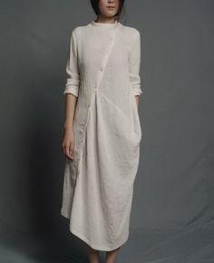 Slanting Buttons Irregular Hem Linen Dress-zenb.com SKU aa0364