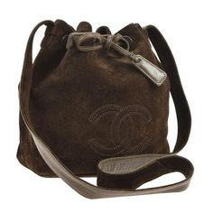 57c0f0a551a Chanel Brown Suede Crossbody Bucket Bag