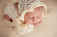 SHAYLYN BONNET Newborn Photo Prop Lace Bonnet Newborn Prop