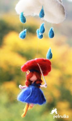 Singing in the rain, needle felted waldorf inspired fairy mobile, blue, red, yellow, wool felt, nursery mobile