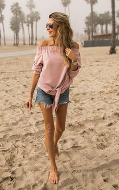 Ily Couture Off the Shoulder Tie Sweatshirt- Blush