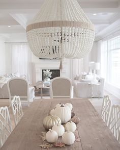 @jshomedesign- Ro Sham Beaux chandelier, white beaded chandelier, coastal style, hamptons style, trestle table, restoration hardware, neutral decor, simply white, benjamin moore