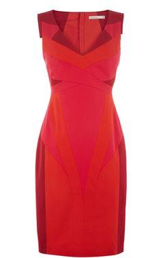 Bold colour blocked stretch cotton pencil dress