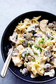 Slow Cooker Chicken and Mushroom Stroganoff  A can of cream of chicken soup goes a long way in this decadent recipe