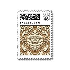 Diamond Damask, DOUBLE DAMASK in Cream & Brown Stamps from Zazzle.com