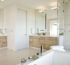 Contemporary Bathroom Lighting, Contemporary Baths, Modern Baths, Contemporary Style, White Bathroom, Modern Bathroom, Master Bathroom, Wood Bathroom, Bathroom Ideas