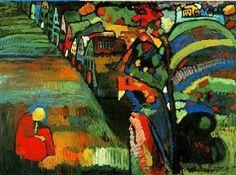 #expresionismo pintura con casas de Vasily Kandisky .elegí esta obra porque muestra la lucha interna del estado de animo del artista y lo plasma para que podamos comprender dicho estado.