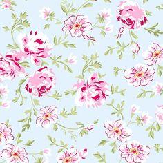 Tissu de coton Rose 923B de ballet par Rachel Ashwell pour trésors de Shabby Chic Floral sur bleu pâle